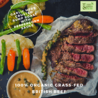 Garlic Herb Crusted Rump Roast with Peppercorn Sauce